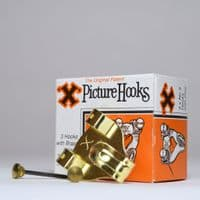 Picture Hooks. No.3 Double Pin. 3 brass hooks & tempered steel pins, 'X' Brand, boxed